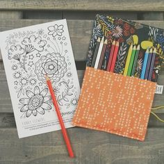 Mini Pencil Case - Morning Walk  - art party favor, flower pencil roll, Bible Journaling, adult coloring, colored pencil holder by paperfromheaven on Etsy https://www.etsy.com/listing/276995228/mini-pencil-case-morning-walk-art-party