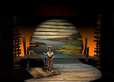The Big River. Rendering (computer and watercolor). Scenic design by Shawn Fisher.