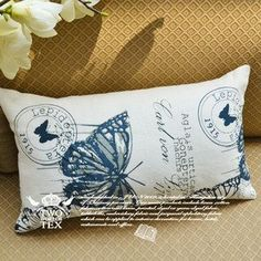 Aliexpress.com : Buy Free shipping art Linen cotton hold pillow cover cushion cover Blue butterfly European style 30cmx50cm 2pcs/lot from Reliable cushion suppliers on Fransis Xu's store