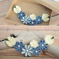 This flower statement necklace is perfect for spring!!!  Each petals are folded by hand using techniques of Japanese Tsumami zaiku.