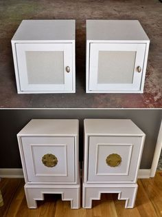 wall-mounted IKEA cubes transformed into modern Asian nightstands - wall-mounted IKEA cubes transformed into modern Asian nightstands - Cube Furniture, Asian Furniture, Oriental Furniture, Refurbished Furniture, Furniture Makeover, Painted Furniture, Lacquer Furniture, Oriental Decor, Oriental Style