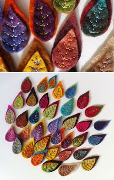 Embroidered felt leaves {to cover the flaws in the hats I'm knitting} – 2019 - Wool Diy Felt Flowers, Fabric Flowers, Felt Crafts, Fabric Crafts, Felted Wool Crafts, Felt Leaves, Wool Embroidery, Felt Brooch, Felt Applique