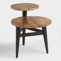 Wood and Metal Multi Level Accent Table - v1
