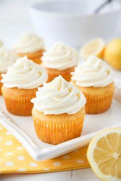 Lemon Cream Cheese Frosting | Dessert Now, Dinner Later! Lemon Sugar Cookies, Lemon Cupcakes, Vanilla Cupcakes, Frosting Recipes, Cake Recipes, Dessert Recipes, Desserts, Lemon Cream Pies, Lemon Cream Cheese Frosting