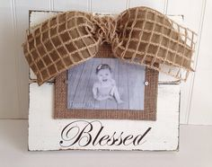 Cream Distressed Picture Frame with Burlap bow