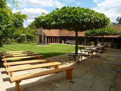 The courtyard of the barn before the ceremony.