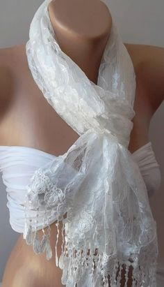 White   Elegance  Shawl / Scarf with Lacy Edge by womann on Etsy, $17.90