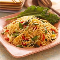 Asian Vegetable and Pasta Salad Asian ingredients, plum sauce, soy sauce, and sesame oil make this pasta salad recipe exceptional. For the best flavor, use toasted sesame oil, which is darker and more robust than light-color varieties. Serve the salad with chicken or beef.