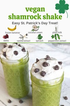 This easy and healthy vegan version of the Shamrock Shake is going to blow you mind! It is made with whole food ingredients and no syrup but is sweet and minty just the way it should be! Enjoy this refreshing St. Patrick's Day treat topped with coconut whipped cream. Check out the recipe for the full details! How to make a shamrock shake | what's in a shamrock shake | vegan milkshake | dairy free shake Banana Coconut, Coconut Cream, Vegetable Smoothie Recipes, Vegan Recipes Plant Based, Vegetable Smoothies, Shamrock Shake, Frozen Banana, Peppermint, Spinach