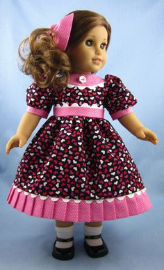 American Girl Doll Clothes  - Dress and Hair Bow in Hearts and Dots. $24.00, via Etsy.