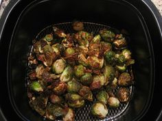 Set Airfryer to 390 degrees and preheat.  Add prepared sprouts to basket and set timer for 15 minutes.  While cooking, occasionally remove and shake basket or stir.  The sprouts are done when the centers are tender and the outsides are caramelized and a bit crispy.
