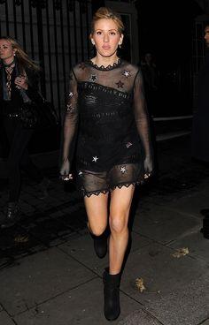 Ellie Goulding Goes Braless As She Parties in Sheer Mini Dress and Black Booties