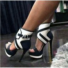 High Quality Contrast Colour PU Ankle Strap Platform Sandals
