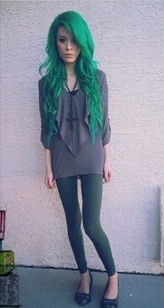 forest green hair  posted by dyedhairstyles on instagram