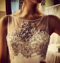 beautiful bodice on a wedding dress