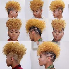 Black blonde contrast short natural hair curly with design Short Natural Curls, Short Natural Haircuts, Natural Hair Cuts, Natural Hair Styles, Shaved Hair Designs, Haircut Designs, Haircut Styles, Undercut Designs, Videos Instagram