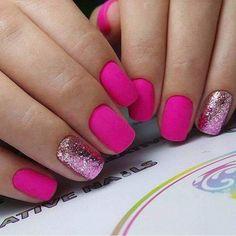 DIY Nail Art Designs Fuchsia and glitter nail art. Pretty pink nail design♥️♥️♥️ Types Of Hair Loss Pedicure Colors, Manicure E Pedicure, Nail Colors, Glitter Pedicure, Pedicure Ideas, Nail Ideas, Makeup Ideas, Diy Nails, Cute Nails
