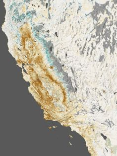 """Image from NASA """"NASA satellite image showing impact of drought on California's farms, forests and wild lands."""""""