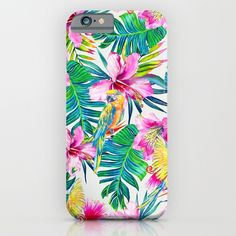 Check out society6curated.com for more! @society6 #floral #flowers #pattern #phone #case #phonecase #accessory #accessories #fashion #style #buy #shop #sale #cool #sweet #rad #awesome #fun #beautiful #beauty #pretty #botanical #iphone #products #product  #botanical #green #pink #yellow #white #parrots #parrot #birds #tropical