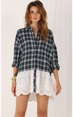 Tops > Boyfriend Flannel Shirt With Lace Overlay