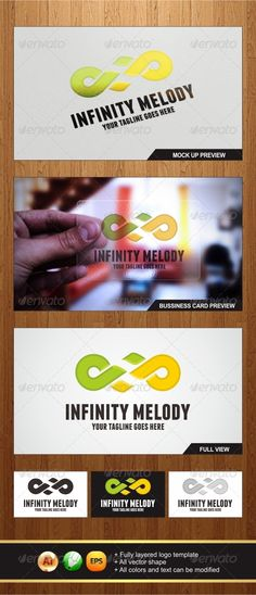 Infinity Melody  #GraphicRiver         An Amazing Multipurpose Infinity Melody logo template  Highly suitable for Music, Instrument, entertainment or any other business related.   - All vector shape  - Fully layered logo template  - All colors and text can be modified  - Ai ,EPS, CorelDraw X3 Files  - Help Files Included 	 Font : 1. (Franchise) :  .dafont /franchise.font