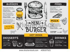 Find Restaurant Brochure Vector Menu Design Vector stock images in HD and millions of other royalty-free stock photos, illustrations and vectors in the Shutterstock collection. Food Truck Menu, Food Truck Design, Food Menu, Food Design, Design Ideas, Pizza Menu Design, Restaurant Menu Design, Restaurant Recipes, Cafe Menu