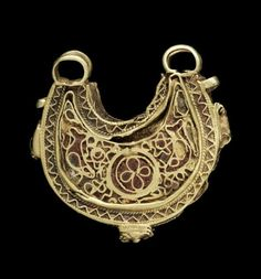 A Fatimid cloisonné enamelled-gold Pendant  Egypt, 11th Century in the form of a crescent