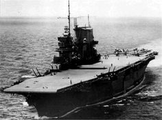 USS Saratoga (CV 3) aircraft carrier, 1942 - Sunk by atomic bomb test, 25 July 1946