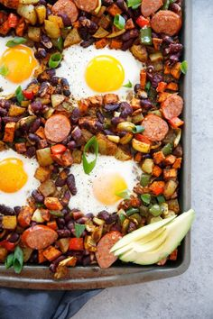 This Sheet Pan Chorizo and Egg Bake is probably my favorite breakfast. It's hearty, Mexican flavor-packed, and made easy with only one pan. It's gluten-free, and paleo-friendly and the perfect breakfast everyone will enjoy! Paleo Recipes, Real Food Recipes, Cooking Recipes, Paleo Meals, Healthy Breakfasts, Diet Meals, Paleo Diet, Healthy Meals, Delicious Recipes