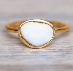 White Pebble and Gold Ring || unique stones found in the Greek Islands and then wrapped in Gold- now 15% OFF (store wide) using code 150KYAY