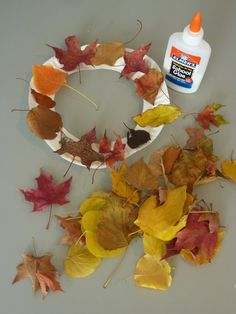 Leaf Wreaths for Kids. Use paper plates, fallen leaves, and Elmer's School Glue…