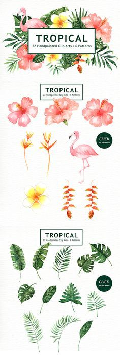 Tropical Leaves Watercolor Clipart by everysunsun