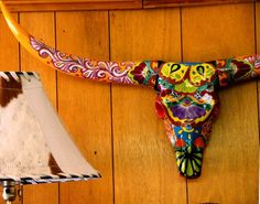 painted bull skull pics | Painted Cow Skull. | Karnegie Musa, cowhide lamp, painted cow skull ...