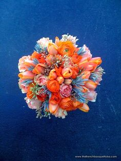Really love this one - Orange Bouquet of Tulips, Ranunculi, Tangerine Roses, Seeded Eucalyptus, and Lavender - The French Bouquet