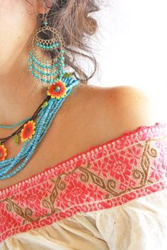 Boho jewelry and embroidery at its best