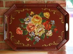 Cottage Romantic - Large 18 x 24 Maroon Tole Tray Hand Painted with Cabbage Roses & Gold Accents