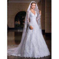 Item Type: Wedding Dresses Waistline: Natural is_customized: Yes Brand Name: WDPL Dresses Length: Floor-Length Neckline: V-neck Silhouette: A-Line Sleeve Length: Full Wedding Dress Fabric: Lace For Pr