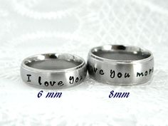 Couples Hand Stamped Name Ring Set by SnowMountainDesigns on Etsy