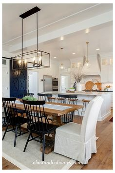 Open Kitchen And Living Room, Home Decor Kitchen, Modern Farmhouse Kitchens, Home Kitchens, Modern Farmhouse Living Room Decor, Modern Farmhouse Design, Custom Kitchens, Farmhouse Dining Room Lighting, Modern Dining Room Lighting