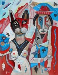 Heart Land. Blue hearts beat in time to a surrealist American gothic background.   Heart Land is painted with acrylic on a wooden panel. It measures 12.5 x 10 inches.  $250