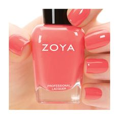 """Zoya Nail Polish in Wendy (""""Wendy by Zoya can be best described as a juicy summer melon, deep enough to flatter a tan but bright enough to stand out! Flawlessly opaque in 2 coats. Please note: Due to the florescent pigment used, actual shade and photographic reproduction may differ."""" /// Family - Pink; Finish - Cream; Intensity - 5 [1 = Sheer - 5 = Opaque]; Tone - Cool)"""