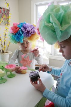 This is my kind of party! Little girl tea party hats ~ these would be so cute to make for playing dress up! What a cute party that would be, getting some good ideas for the future on here! Crazy Hat Day, Crazy Hats, Girls Tea Party, Tea Party Hats, Tea Party Birthday, Tea Parties, Elmo Party, Elmo Birthday, Mickey Party