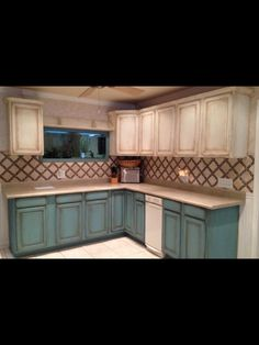 Chalk painted cabinets. Paintiques by Lisa Harrison.