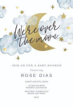 Over the Moon Baby Shower Invitation Template Free Greetings Island Over the Moon Baby Shower Invitation Template Free Greetings Island Greetings Island greetingsisland Baby Shower Invitation Templates Customize nbsp hellip Shower invites Free Baby Shower Invitations, Baby Shower Printables, Baby Shower Themes, Baptism Invitations, Boy Babyshower Invitations, Shower Baby, Baby Shower Templates Free, Cloud Baby Shower Theme, Free Party Invitation Templates