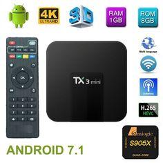 TX3 Mini tvbox set-top box Android 7.1 Quad Core Amlogic S905W ROM 4K WiFi 2G DDR3 16G 4K HD H.265 Media Player smart tv box  Price: $ 59.99 & FREE Shipping   #rc #security #toys #bargain #coolstuff #headphones #bluetooth #gifts #xmas #happybirthday #fun