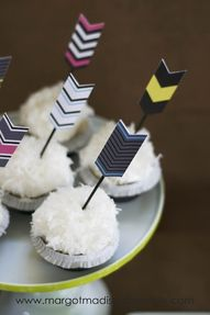 Hunger Games Arrow Cupcakes. I would make them red and yellow and orange though.