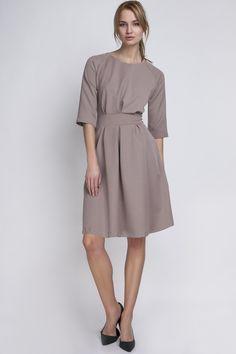 Elegant beige dress / Wider at the bottom / dress with pockets – a unique product by Lanti_Official via en.DaWanda.com