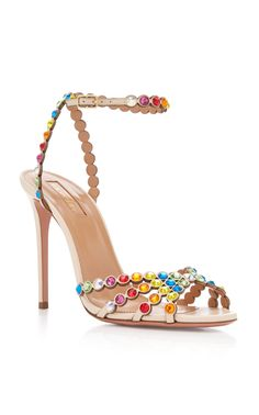Tequila Embellished Leather Sandals by Aquazzura Sperrys Women, Discount Designer Shoes, High Heels, Shoes Heels, Rainbow Sandals, Leather Sandals, Flat Sandals, Gladiator Sandals, Aquazzura