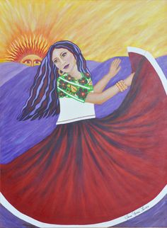 """""""Bailando Con El Sol"""" [Dancing with the Sun] § by NORMA GARCIA-TORRES Born in Juarez, Chihuahua, Mexico. Raised in the Southwest USA. Attended University of Texas at El Paso and Arizona State University at Phoenix. Spent most of her career in social services. Retired from government service, her life has come full circle. She is again painting. An Hispanic artist living in Chandler, Arizona, her art is inspired by memories of childhood in Mexico and contemporary life in the Southwest"""