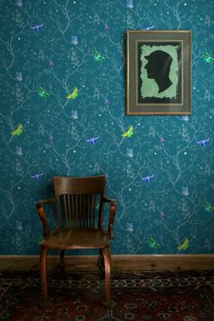 I can't even say how much I love this pattern. It has so much beauty and tension. The multi-colored butterflies resting on the tonal background seem to fly off the wall. Available in 12 wonderful colo